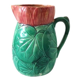 Late 19th Century Antique Majolica Victorian Rose and Green Waterlilies Tin-Glazed Pitcher For Sale