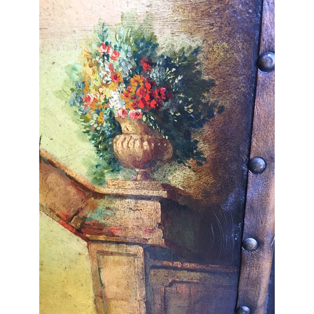 6 Ft Antique Painted Leather Screen W/ Pastural Scene For Sale - Image 9 of 10