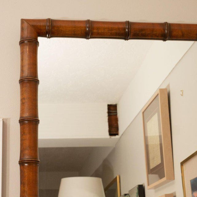 Mid-Century Modern 1970s Vintage Bamboo Mirror For Sale - Image 3 of 5