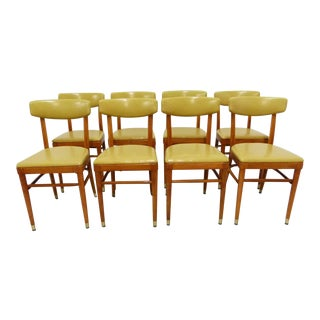 Thonet Yellow Vinyl Bentwood Dining Chairs - Set of 8