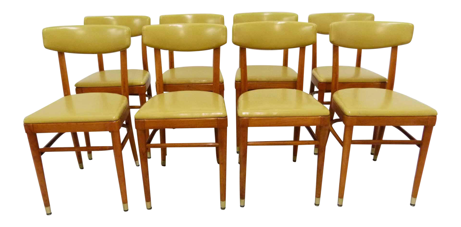 Thonet Yellow Vinyl Bentwood Dining Chairs   Set Of 8