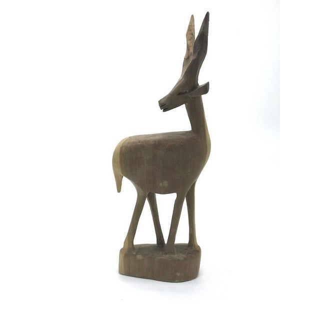 Brown Mid-Century Handcarved Wood Gazelle For Sale - Image 8 of 8