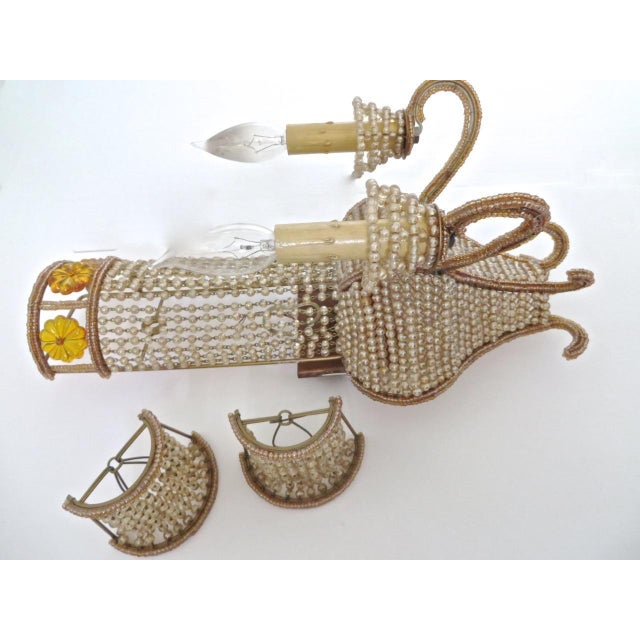 """1960s Beaded Venetian """"Maison Bagues"""" Style Large Sconces - A Pair For Sale - Image 5 of 8"""