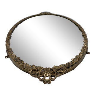 Large Vintage French Mirrored Oval Vanity Tray For Sale