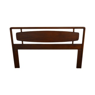 Mid Century Modern Walnut Full or Queen Size Floating Panel Headboard For Sale