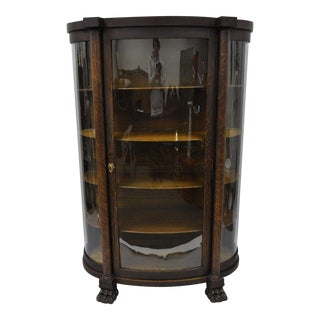 Antique Oak Paw Feet Curved Triple Bow Front Glass China Cabinet