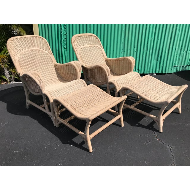 Vintage Coastal Wicker Sling Back Chairs and Ottomans-A Pair For Sale - Image 13 of 13
