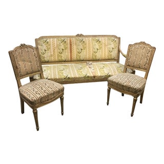 Late 19th Century Louis XVI Settee Set- 3 Pieces For Sale