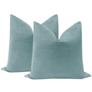 """22"""" Cerulean Blue Velvet Pillows - a Pair"""