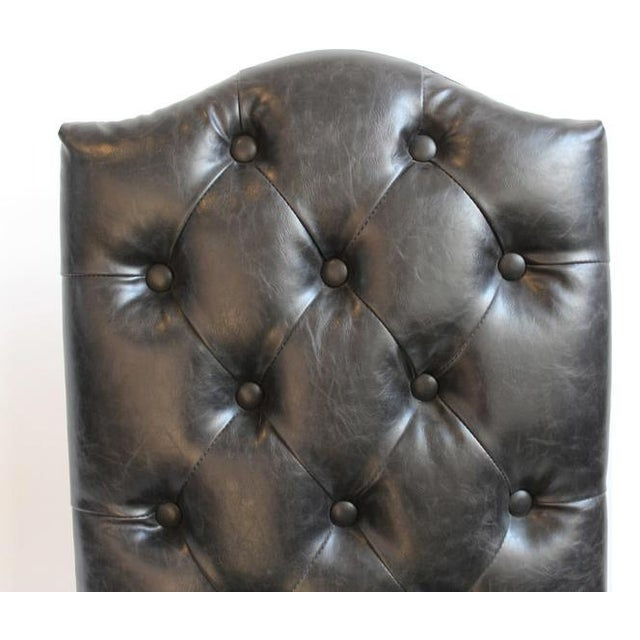 Black Leather Tufted Dining Chair   Chairish