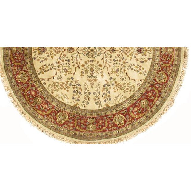 Fine INDO Sarouk Antique Design RugHandmade Hand-knotted Lamb's Wool on a Cotton Foundation Hand-Spun Wool Rug This rug...
