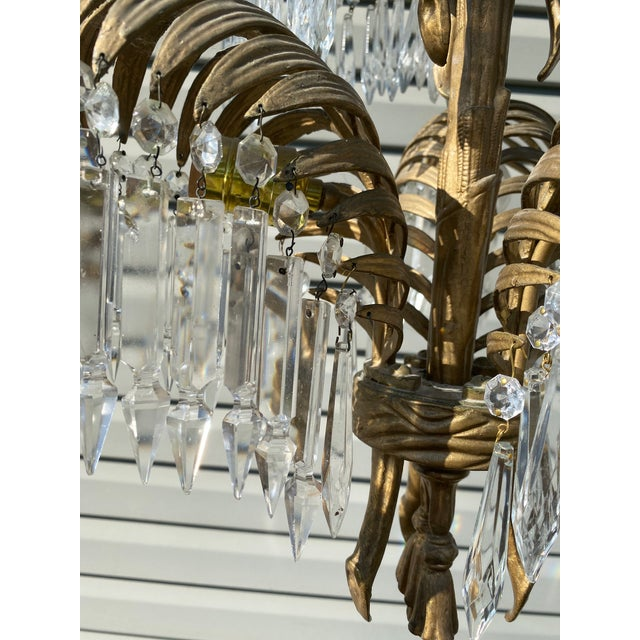 Metal Early 20th Century French Bronze and Crystal Palm Chandelier For Sale - Image 7 of 8