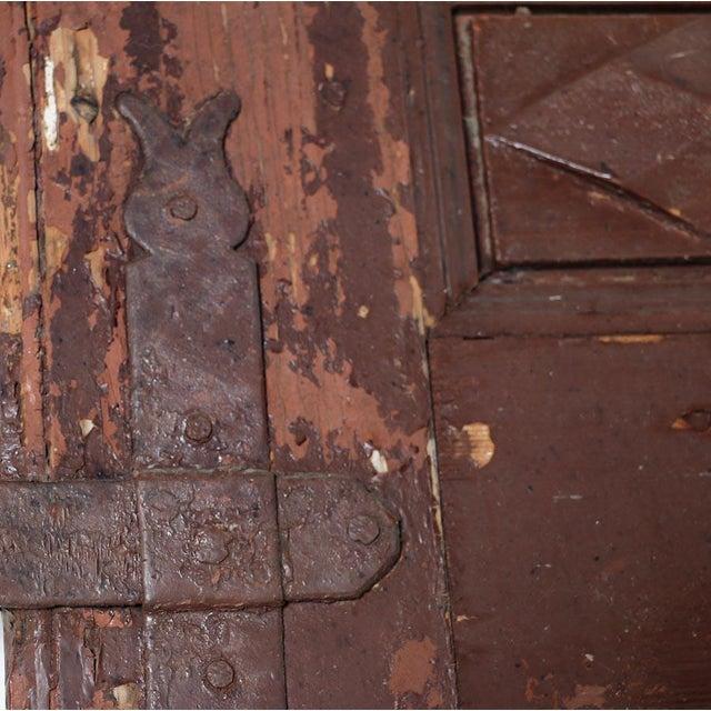 Antique Original Brown Painted Rustic Wood Door For Sale - Image 4 of 6