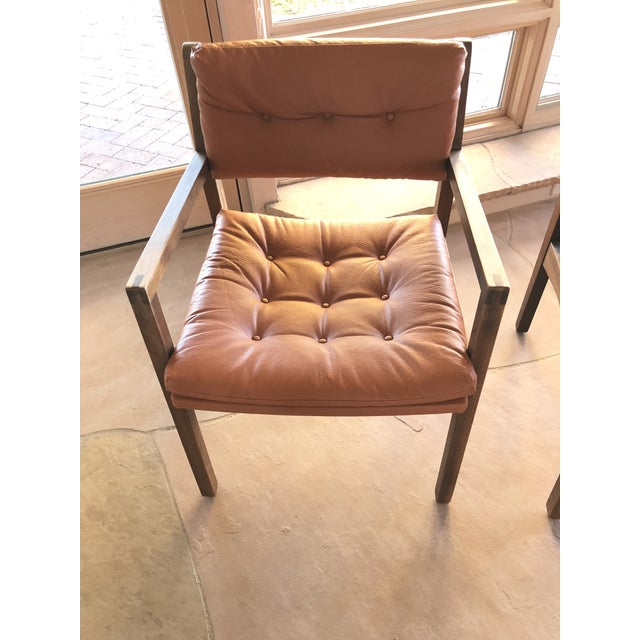 Mid-Century Modern Mid Century Modern Leather Chairs- a Pair For Sale - Image 3 of 9