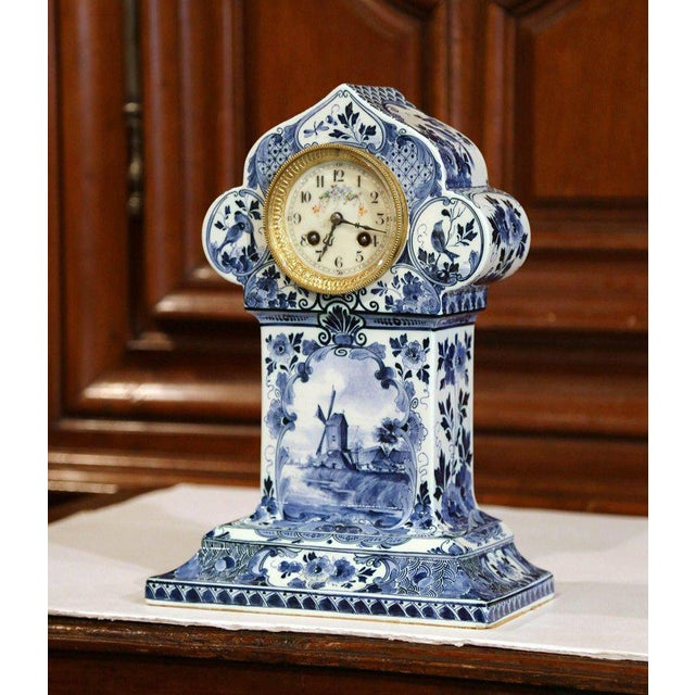 Early 20th Century Dutch Hand-Painted Blue and White Faience Delft Mantel Clock For Sale - Image 13 of 13