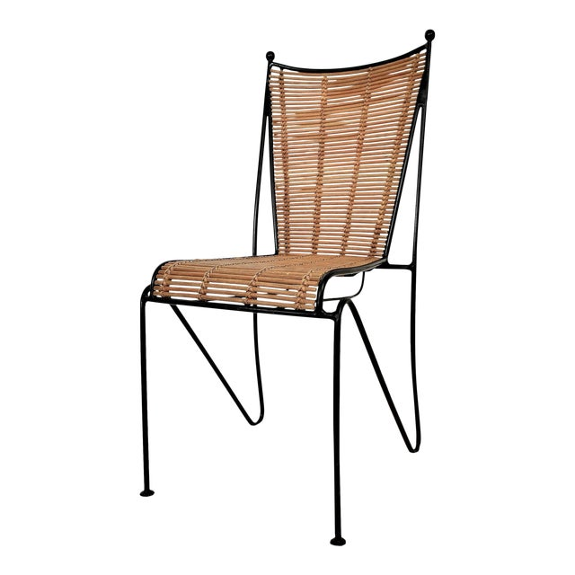 Ficks & Reed Mid-Century Organic Modern Bamboo & Rod Iron Chair Pencil Reed Rattan Albini Weinberg Style -- Tropical Boho Chic Mid Century Modern MCM For Sale