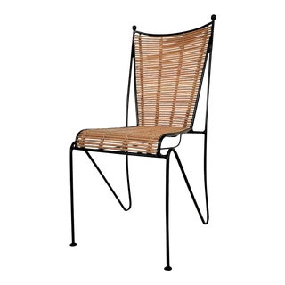 Ficks & Reed Mid-Century Organic Modern Bamboo & Wrought Iron Chair Pencil Reed Rattan Frederick Weinberg Style