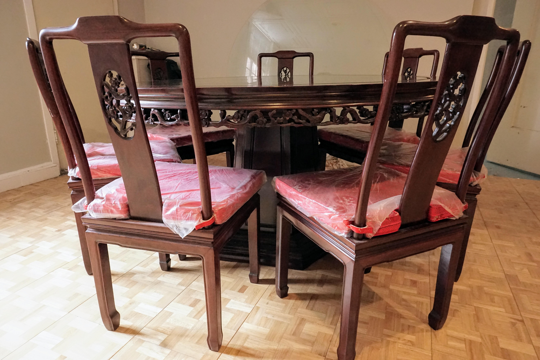 Large Asian Dining Set, Round   Image 10 Of 10