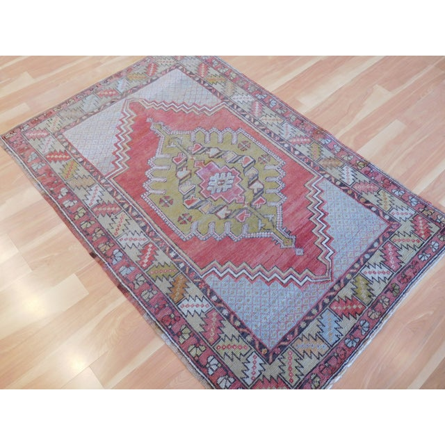Vintage Turkish Oushak Rug - 3′6″ × 5′4″ - Image 4 of 5