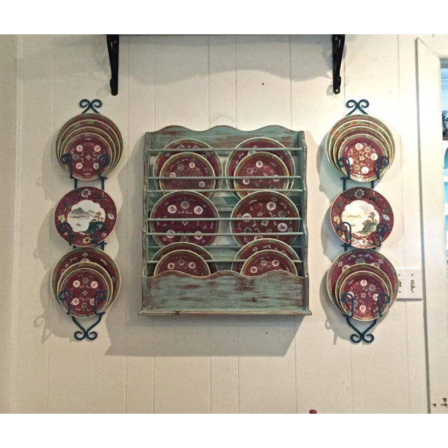Turquoise Shabby Chic-Style Wall Plate Rack For Sale - Image 8 of 9