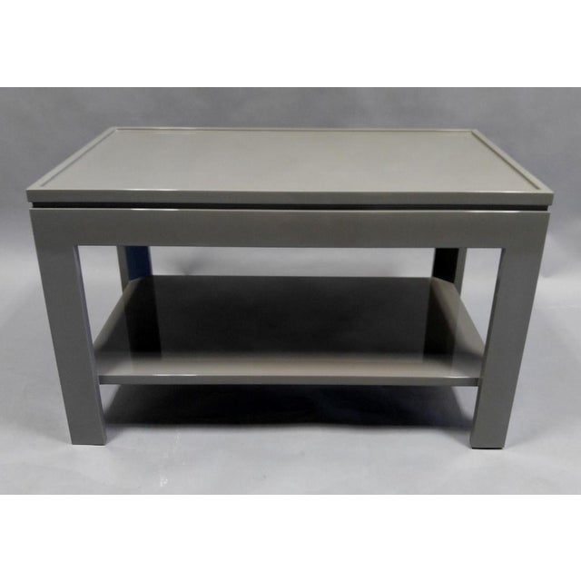 Custom made end table / night stand with a faux tray design in a grey color painted hight gloss finish with a bottom...