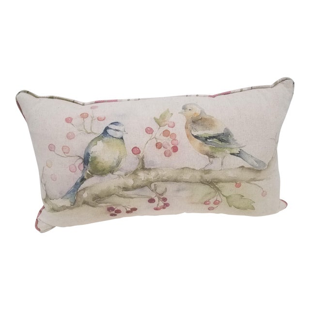 Two Birds With Berries Pillow - Made in Wales For Sale