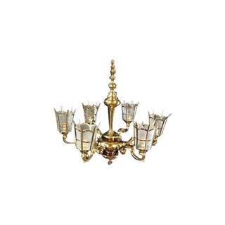 1920s Vintage Tudor Style 6 Light Brass Chandelier For Sale