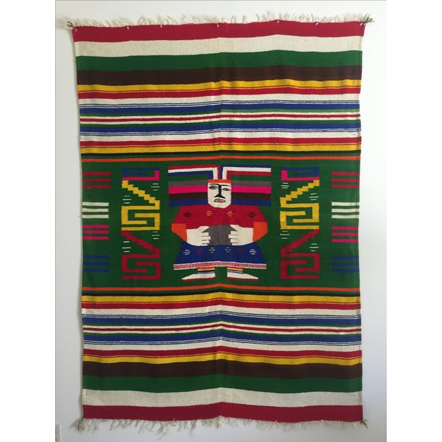 Vintage 1960 S Hand Woven Mayan Zapotec Mexico Wool