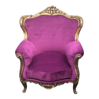 1920s Vintage Rococo Gilded Chair For Sale