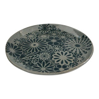 Floral Stenciled Stoneware Ceramic Plate For Sale