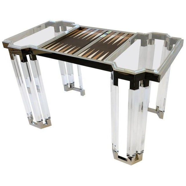 Lucite and Polish Nickel Backgammon Table by Charles Hollis Jones For Sale - Image 11 of 11