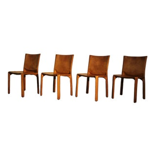 1980's Vintage Mario Bellini Leather Cab Dining Chairs- Set of 4 For Sale