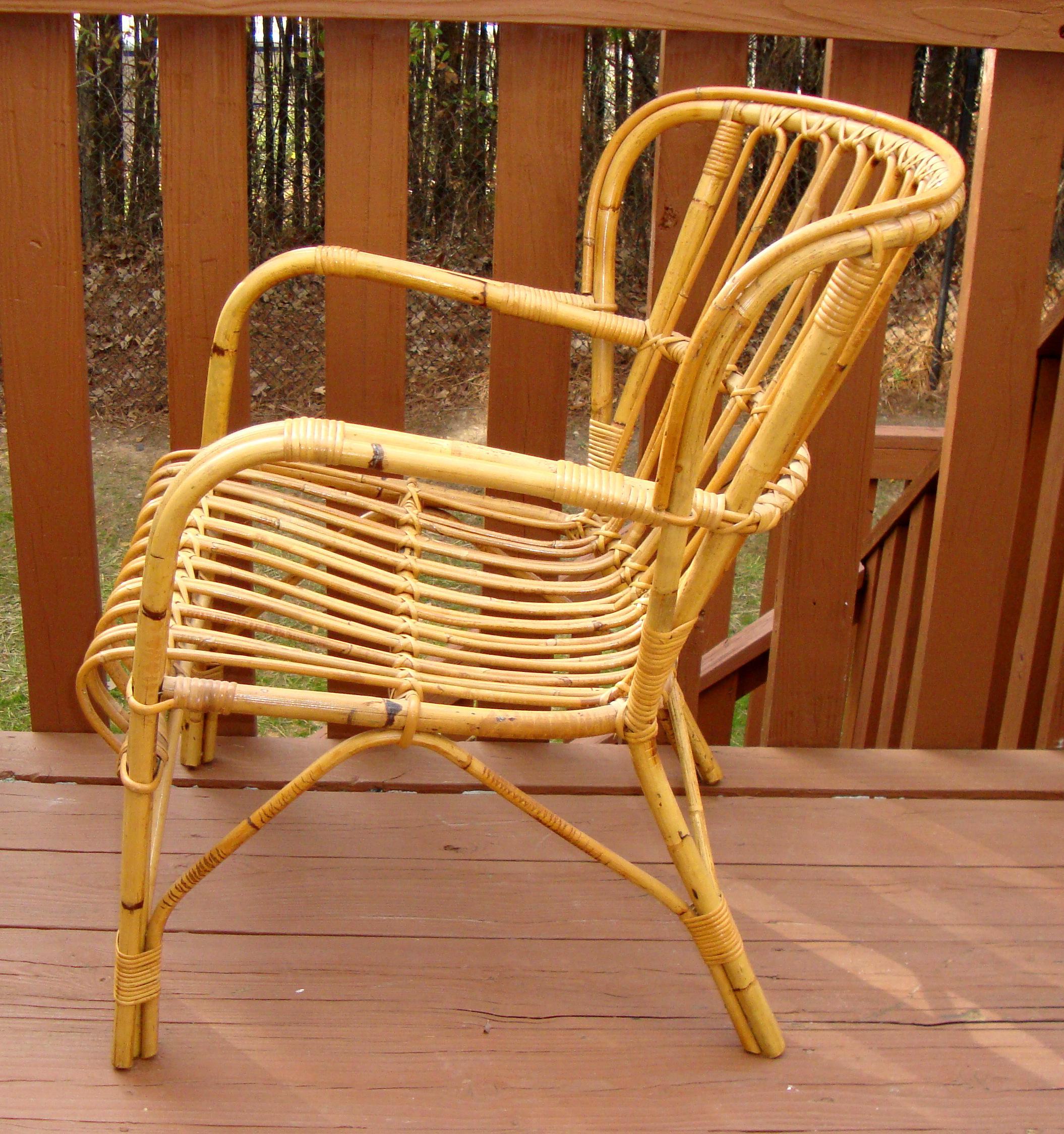 Franco Albini Mid Century Rattan Bentwood Chair   Image 4 Of 11