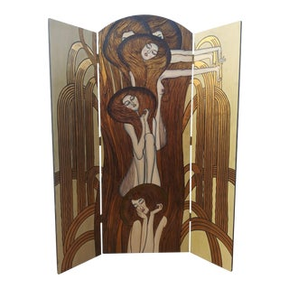 Staggering Art Deco by Fournier Decoration Paris Gustav Klimt Psychadelic Nude Woman Nouveau Style Room Divider Screen Vienna Secession For Sale