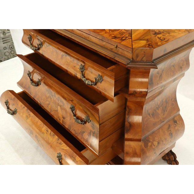 Brown Italian Bombe Inlay Olive Wood Dresser Drop Front Jewerly Compartment Secretary For Sale - Image 8 of 13