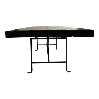 Reclaimed Wood Dining Table With Hand Forged Iron Base For Sale