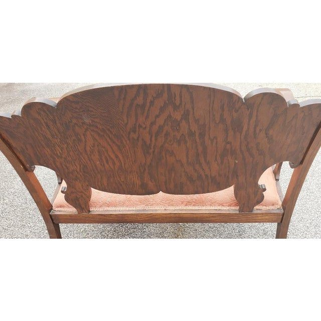 Vintage Mid Century Brown Wood Settee For Sale - Image 4 of 11