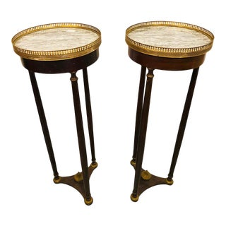 Mahogany Empire Marble-Top Pedestals - a Pair For Sale