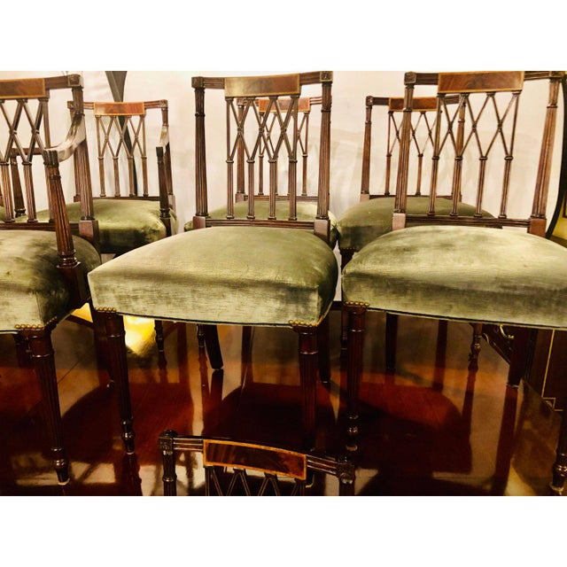 Set of Twelve Sheridan Style Dining Chairs With New Upholstery For Sale In New York - Image 6 of 13