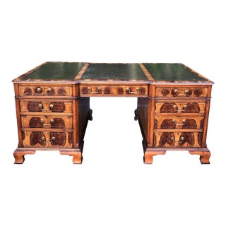 Antique English Oyster Burl Partners Desk - Hideaway House For Sale