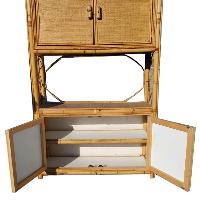 Vintage Bamboo Display Cabinet For Sale - Image 4 of 10