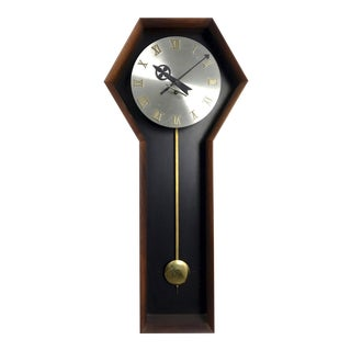 1970s Arthur Umanoff for Howard Miller Walnut Clock For Sale