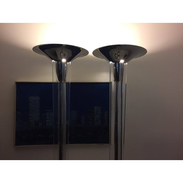 "Pair of midcentury modern chrome and lucite torchiere floor lamps circa 1970s – 80s 70.5""H, torchiere 16.5""D, base 12""..."