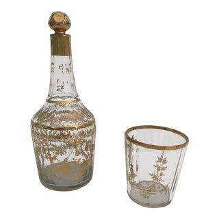1910s Art Nouveau Gilt Decorated Small Carafe & Glass - 2 Pieces For Sale