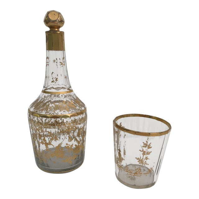 1910s Art Nouveau Gilt Decorated Small Carafe & Glass - 2 Pieces For Sale