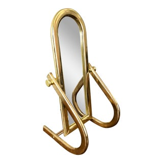 Vintage Milo Baughman Style Brass Cheval Vanity Mirror For Sale