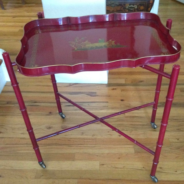 Superb Chinoiserie Style Tole Tray Table on Original Stand For Sale In West Palm - Image 6 of 13