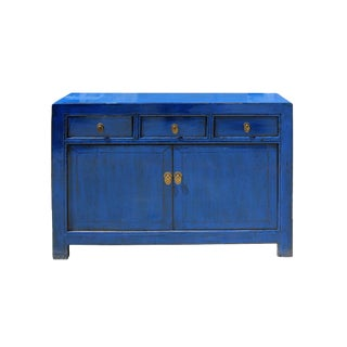 Oriental Distressed Rustic Blue Credenza Sideboard Buffet Table Cabinet