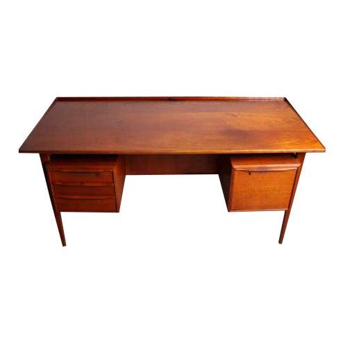 Peter Lovig Nielsen Danish Teak Floating Top Desk For Sale