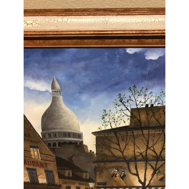 "Design Plus Gallery presents an Original Painting . A custom crackle-finished framed piece depicting ""Rue de Paris in..."
